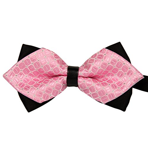 Fashion Bowtie Bow Ties Accessories Tie Classic Pre-Tied Bow Tie Formal Solid Suits Tuxedo for Adults (Pink) by HUAMING (Image #1)