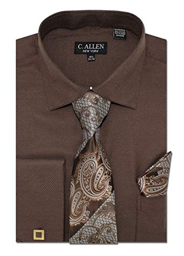 Square Pattern Regular Fit French Cuffs Dress Shirts with Tie Hanky Cufflinks Combo Brown ()