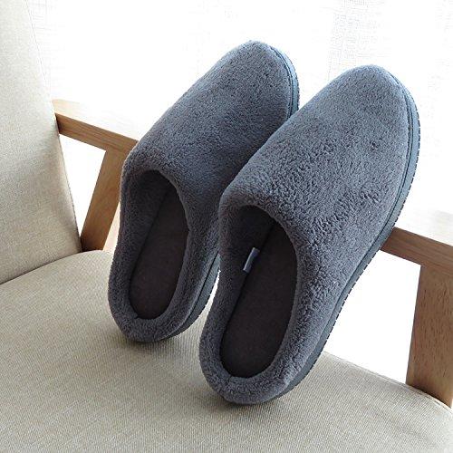 LaxBa Absorption de choc mou et perméable à l'intérieur d'hiver Chambre pantoufles pour hommes et femmes44/45 gris