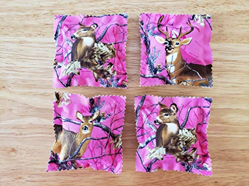 Catnip Ravioli Pillow Toys, Made From Wildlife Realtree Fabric, Pink Camouflage, Camo, Deer, Bucks, Does, Set of 4 Cat, Cats, Kittens