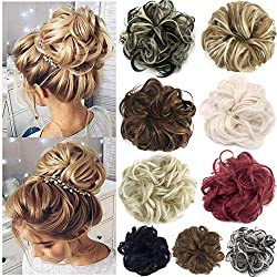 FUT Scrunchy Scrunchie Hair Bun Updo Hairpiece Ponytail Hair Extensions Wavy Curly Messy Hair Bun Extensions Donut Chignons Hair Piece light brown