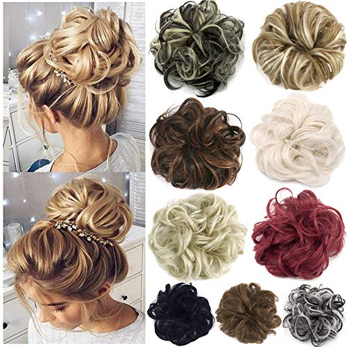 FUT Scrunchy Scrunchie Hair Bun Updo Hairpiece Ponytail Hair Extensions Wavy Curly Messy Hair Bun Extensions Donut Chignons Hair Piece light brown -