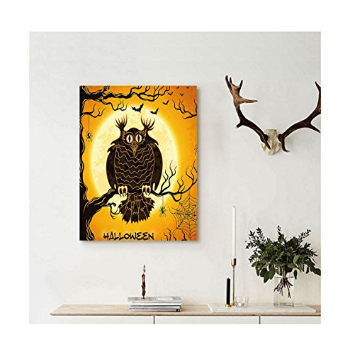 Liguo88 Custom canvas Halloween Decorations Collection Spooky Owl on Tree Branch Surrounded by Spider Webs and Bats Fear Themed Decor Wall Hanging Orange Black (Spider 56 Halloween)