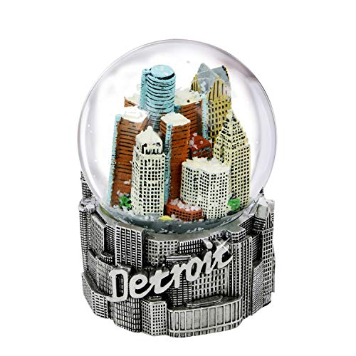 City-Souvenirs Detroit Snow Globe with Skyline and Silver Base 3.5