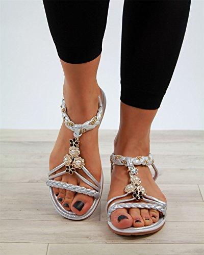 verziert Schuhe Heel Sandalen Fashion Slip New Womens Silber Larena Slingback Low On bequeme Größen SYIqxP