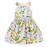 YoMarket Girls Summer Dresses,Sleeveless Cotton Casual Floral Sundress Beach Skirt Suit for 1-10 Years Old Girls (White-1717, 6/7)