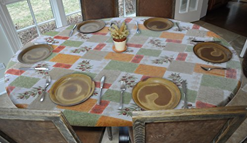Elastic Edged Flannel Backed Vinyl Fitted Table Cover - O...