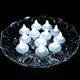 Acmee Battery Included LED Floating Tealight Waterproof Flameless Candle for Festival Party Wedding (White, Pack of 12)