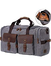 1e9d5a4261a5 Duffel Bag Weekender Bag for Men and Women Genuine Leather Canvas Travel  Overnight Carry on Bag