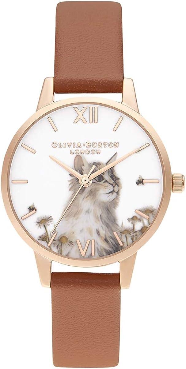 Olivia Burton Women's Stainless Steel Quartz Watch with Vegan Leather Strap, Brown, 1.5 (Model: OB16WL87)