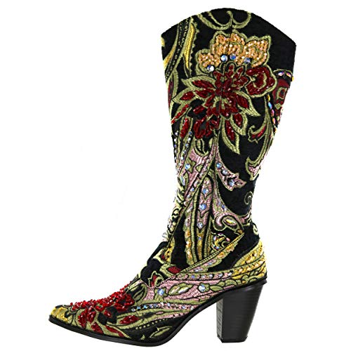 Helens Heart LB-JK-809 Tall Couture Brocade Tapestry Boots with Hand Sewn Crystals (6, Black)
