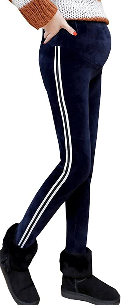 Foucome Fall Winter Fit Belly Warm Stripes Maternity Leggings for Pregnant Women