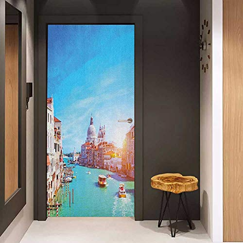 Onefzc Self-Adhesive Wall Murals Venice Grand Canal and The Salute Basilica on Sunny Day Touristic Destination Sticker Removable Door Decal W31 x H79 Sky Blue White Cinnamon