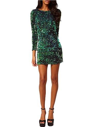 Damen Mädchen Rundhals Langarm Rückseite Reißverschluss Partykleid Mini  Rückenfrei Pailletten Cockteil Kleid Minikleid: Amazon.de: Bekleidung
