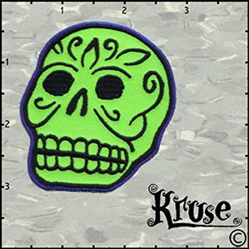 Kruse Artist Embroidered Iron On Patch - Green Tatto Art Skull Applique -