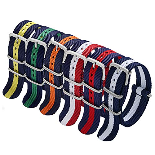 - NATO Strap 6 Packs 22mm Watch Band Nylon Replacement Watch Straps for Men (Blue/White/Red+Black/Blue+Black/White+Black/Orange+Black/Yellow+Blue/Red)