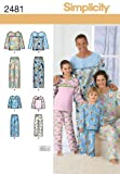 Simplicity Karen Z Pattern 2481 Child, Teens and Adults Pants and Top Nightwear Sizes XS-XL