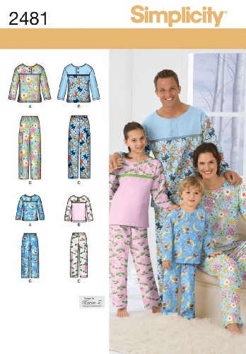 Simplicity Karen Z Pattern 2481 Child, Teens and Adults Pants and Top Nightwear Sizes XS-XL (Pants Sewing Pajama)