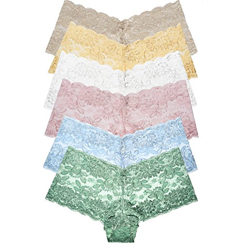 Curve Muse Women's Pack of 6 Comfort Sheer Lace Tanga Hipster Boyshorts Panties-Pack ()