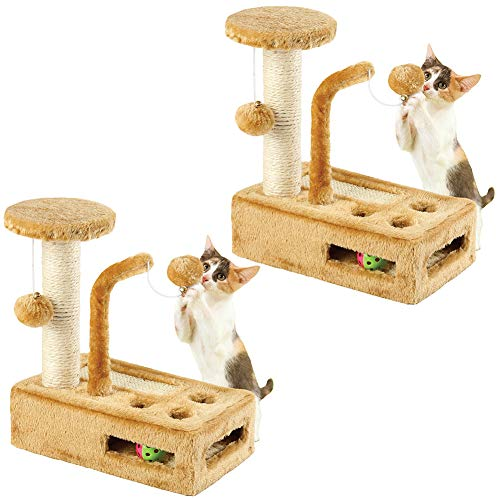 Johnson Smith Co. (Set/2) Complete Kitty Play Gyms Balls & Bells, Peek-A-Boo Holes Scratching Post (Smith Overalls Cotton)