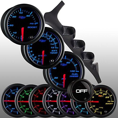 GlowShift 1992-1997 Ford F-150 F-250 F-350 Power Stroke Diesel Package + Tinted 7 Color Boost, EGT & Fuel Pressure (Custom Gauge Package)