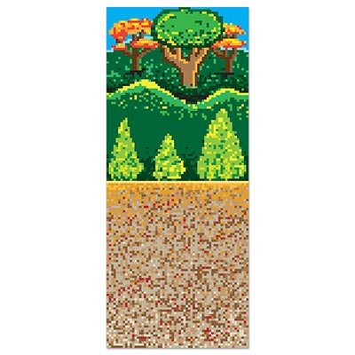 Beistle Forest 8-Bit Backdrop, 4 by 30-Feet, Multicolor
