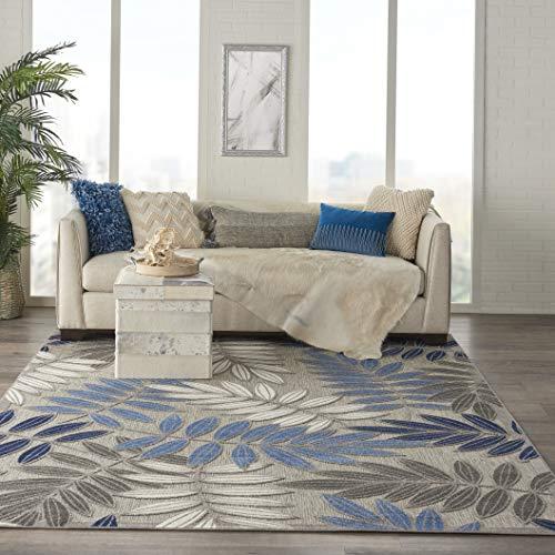 Nourison ALH18 Aloha Indoor/Outdoor Floral Grey/Blue 7'10