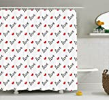 Ambesonne Love Shower Curtain, Love Valentines Day Calligraphy Illustration Ornament Stylish Illustration Art, Fabric Bathroom Decor Set with Hooks, 70 inches, Vermilion Black