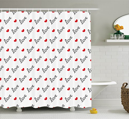Love Shower Curtain by Ambesonne, Love Valentines Day Calligraphy Illustration Ornament Stylish Illustration Art, Fabric Bathroom Decor Set with Hooks, 70 Inches, Vermilion Black
