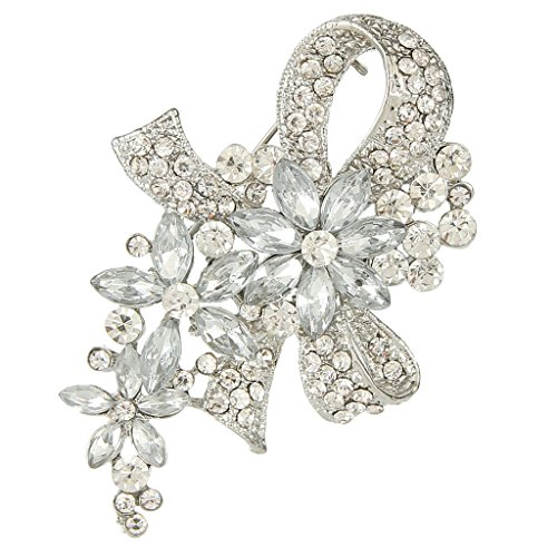 (EVER FAITH Wedding Silver-Tone Bowknot Flower Clear Austrian Crystal Brooch)