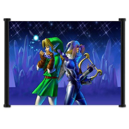 1 X Legend of Zelda: Ocarina of Time Game Fabric Wall Scroll