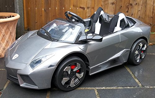 Kids 2 Seater Lamborghini Style Sports Car With Remote Control 12v Electric  / Battery Ride On Car   Grey Lambo: Amazon.co.uk: Toys U0026 Games
