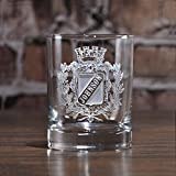 Engraved Whiskey, Scotch, Bourbon Glasses, Coat of Arms, Family Crest SET OF 2 (crest)