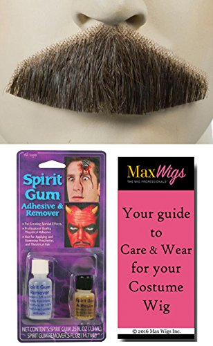 18th Century Costume Drama (Bundle 3 items: Triangle Gentleman Explorer Bushy 18th Century Mustache Human Hair Hand-Made Facial Lacey Wigs Color Light Brown Grey, Spirit Gum & Remover, MaxWigs Costume Wig Care Guide)