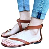 FORUU Summer Women Ladies Sandals Strap Flat Ankle Roman Casual Thong Footwear (39, Brown)