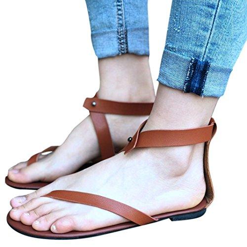 FORUU Summer Women Ladies Sandals Strap Flat Ankle Roman Casual Thong Footwear (39, Brown) by FORUU womens shoes