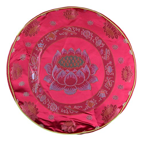 "19"" Round Foam Red Lotus Flower Buddhist Pray Meditation Prayer Pillow Pad Mat Cushion Good Luck"