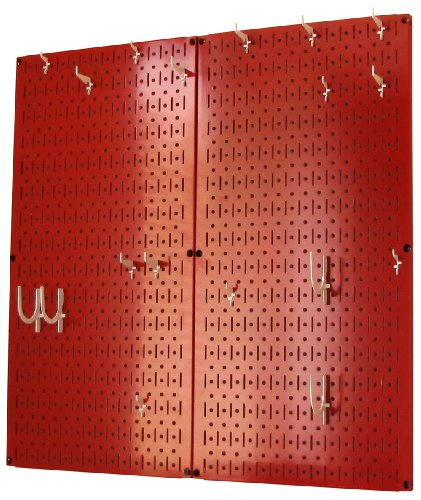 Wall Control 30-KTH-200 RW Kitchen Pegboard Organizer Pots and Pans Pegboard Pack Storage and Organization Kit with Red Pegboard and White Accessories by Wall Control (Image #1)
