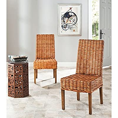 Safavieh Home Collection Aubrey Honey Oak Wicker Side Chair, Set of 2 - The mango wood wicker construction will give your room a chic, modern accent This chair features a seat height of 18.3-inch Crafted of 100-percent mango wood - kitchen-dining-room-furniture, kitchen-dining-room, kitchen-dining-room-chairs - 51wMBthQ 0L. SS400  -