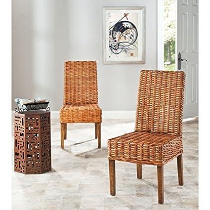Safavieh Home Collection Aubrey Honey Oak Wicker Side Chair Set Of 2