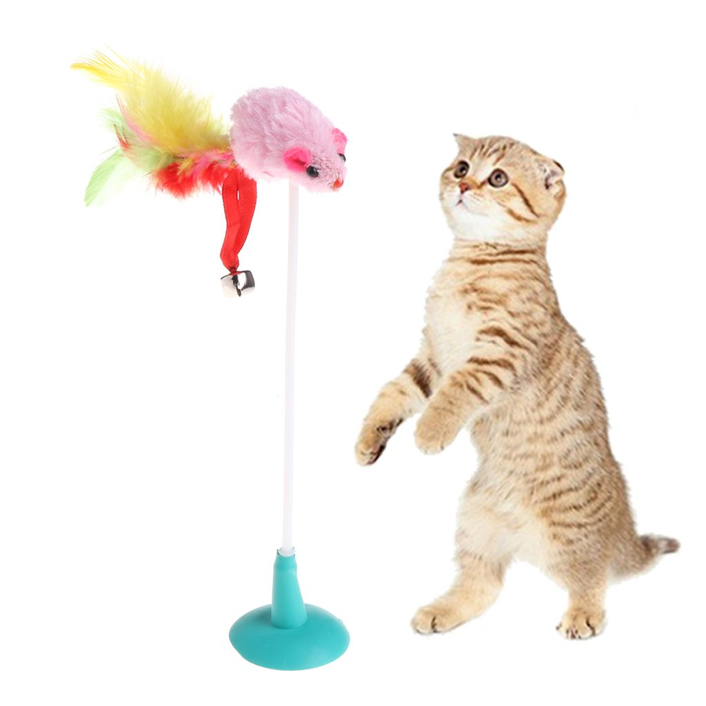 Abicial Colorful Cat Pet Toy Fake Mouse with Suction Cups Funny Playing Ring Lively Tool
