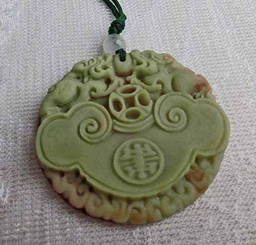 Hand Carved Jasper Twin Dragon Pi-Xiu Carved Chinese Pendant Necklace Amulet Wealth 2D ()