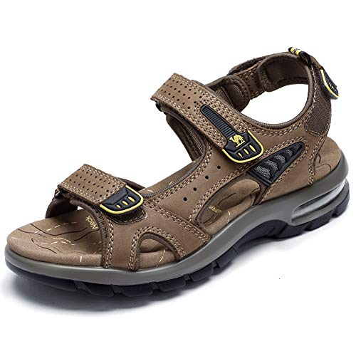 CAMEL Men's Beach Sandals Comfy Lightweight Sandals Genuine Leather Sport Casual Elastic Slippers(Dark Brown, 8 US)