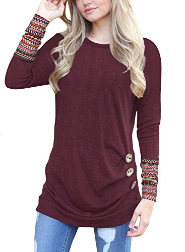 Womens Long Sleeve Striped Blouse Button Decor Patchwork Casual Loose Tunics T-Shirt Tops (Patchwork-Red, L)