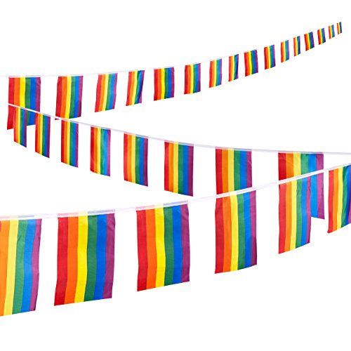 (Juvale Rainbow Flags String, 32-Piece Gay Pride Flag Set - LGBT Flags for Pride Decorations, Pride Flags, Rainbow Party Supplies, Gay Flags, Multicolored - 37.4 Feet String, Each Flag 12)