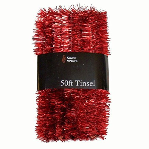 Extra Long 15 metre, 50 foot, Tinsel by Homestreet® in a choice of Red, Silver or Gold Xmas Decoration (RED)
