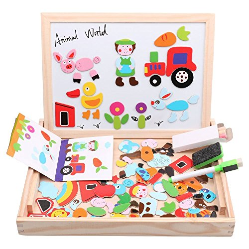 Diwenhouse Wooden Magnetic Jigsaw Puzzles Toy, Toddler Toys Educational Travel Puzzle Games Double Sided Drawing Easel for Boys and Girls (Animal World)]()