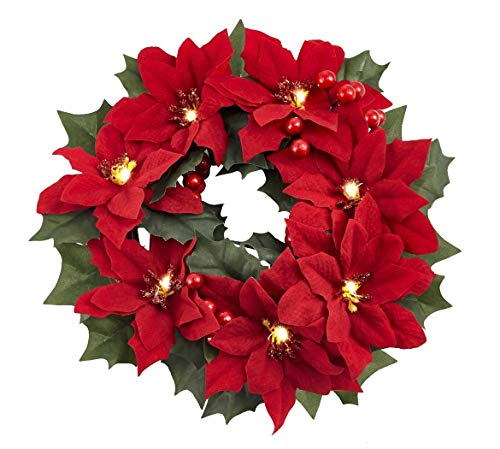 Homeseasons LED Pre-Lit Red Poinsettia, Christmas Poinsettia Wreath Centerpiece (Red) ()