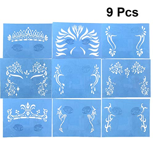 SUPVOX 9 Pcs Face Paint Stencils Reusable Makeup Tattoo Templates Face Body Painting for Halloween Carnival Birthday Party Costume Cosplay (Easy Face Painting Designs For Kids Printable)