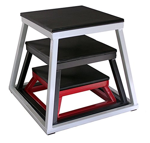 Ader Plyometric Platform Box Set- 6'' Red, 12'' Black, 18'' White. by Ader Sporting Goods